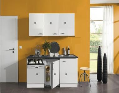 Kitchenette 160cm wit hoogglans met vaatwasser en koelkast en kookplaat RAI-4532
