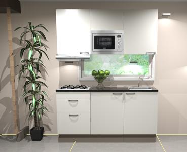 Keukenblok 180cm wit hoogglans incl gas-kookplaat, afzuigkap en magnetron RAI-11028