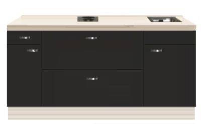 Kitchenette 180cm antraciet met een ladenkast RAI-4669