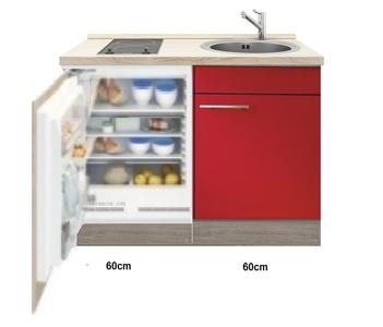 Keukenblok Imola Rood hoogglans met inbouw koelkast en kookplaat 120cm RAI-4422