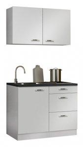 minikeuken 100cm wit hoogglans met bovenkasten en e-kookplaat RAI-11002