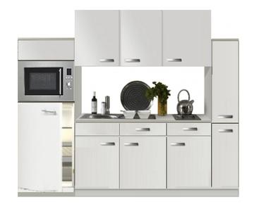 Keuken 240cm wit hoogglans incl koelkast, kookplaat en apothekerskast RAI-372 2