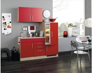 Kitchenette incl e-Kookplaat + koelkast met vriezer + Apothekerskast  210 cm lang RAI-849