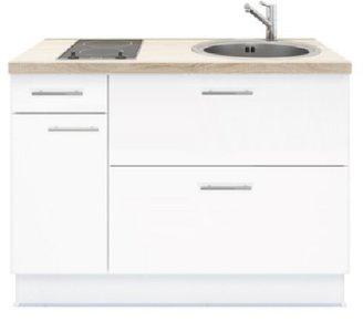 Keukenblok 120 Wit Met Elektrische Kookplaat En Rvs Spoelbak Rai 3591