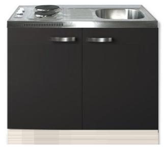 Keukenblok Faro Antraciet 100cm met twee deuren incl e-kookplaat RAI-1205