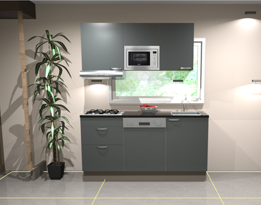 Keukenblok 160 cm Antraciet mat incl gas-kookplaat, afzuigkap, vaatwasser en magnetron RAI-11028