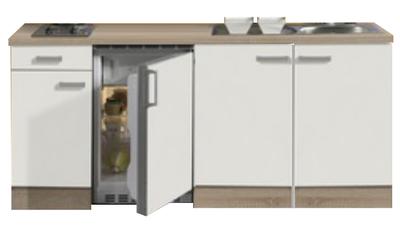 Keukenblok 190cm gebroken wit-eiken incl 2-pit kookplaat RAI-558