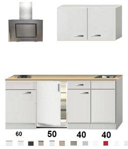 Kitchenette 190cm Wit Hoogglans incl. 2-pit kookplaat, koelkast en afzuigkap HRF-4601