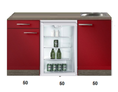 keukenblok 150cm Imola met glazen koelkast RAI-4443