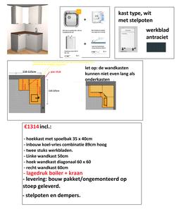 hoek keuken 110cm x 125cm Wit met stelpoten, inbouw koelkast en spoelbak RAI-2002