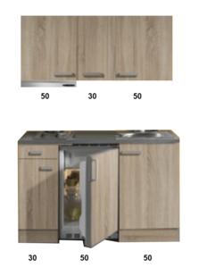 kitchenette 130 houtnerf incl koelkast en e-kookplaat en afzuigkap RAI-3321