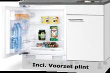 Keuken blok 110cm Wit mat met inbouw koelkast en rvs spoelbak RAI-43012