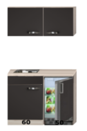 Keuken blok 110cm Antraciet met koelkast en rvs spoelbak RAI-43011