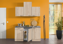 Kitchenette 150cm eikenhout met koelkast en kookplaat RAI-555