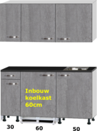 kitchenette 140cm incl inbouw koelkast en kookplaat RAI-321
