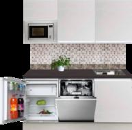Kitchenette 180cm greeploos wit met koelkast en vaatwasser RAI-449