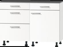 Keuken mini 120cm wit mat met zwart aanrechtblad RAI-44011