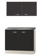 Keuken blok Faro Antraciet 100cm met rvs werkblad incl spoelbak RAI-020
