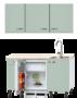 Keukenblok-140-Groen-met-kookplaat-inbouw-koelkast-en-wandkasten-RAI-925