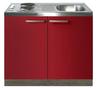 Keukenblok-Rood-hoogglans-100cm-met-twee-deuren-incl-e-kookplaat-RAI-1216