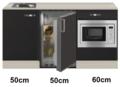 Keukenblok 160 Antraciet incl wandkasten rvs spoelbak en koelkast en magnetron RAI-415