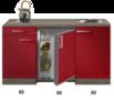 Kitchenette-Rood-Hoogglans-met-koelkast-en-kookplaat-150cm-HRG-400